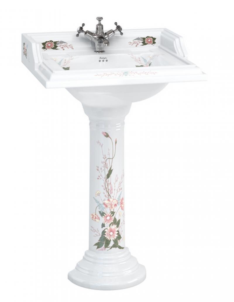 "Раковина с пьедесталом, декор ""Английский сад"""