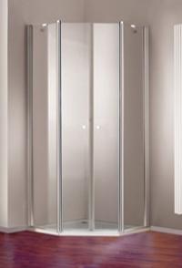 5-угольная двустворчатая распашная дверь Huppe с неподвижными сегментами