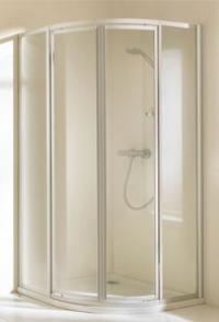 Двустворчатая распашная дверь Huppe 1/4 круга с неподвижными сегментами