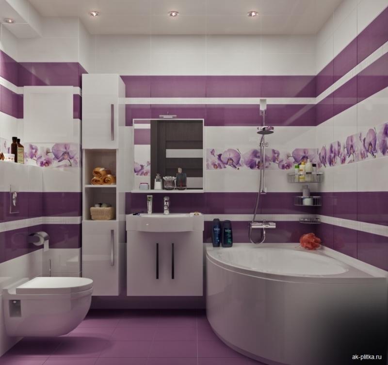 Плитка для туалета дизайн в сиреневых