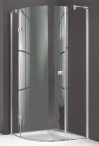 4-угольная распашная дверь Huppe с неподвижным сегментом с дополнительным элементом и боковой стенко